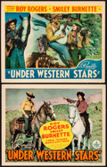 "Movie Posters:Western, Under Western Stars (Republic, 1938). Title Lobby Card & LobbyCard (11"" X 14""). Western.. ... (Total: 2 Items)"