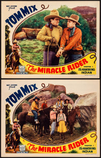 "The Miracle Rider (Mascot, 1935). Lobby Cards (2) (11"" X 14"") Chapter 1 - ""The Vanishing Indian."" Se..."