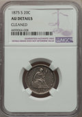 Twenty Cent Pieces, 1875-S 20C -- Cleaned -- NGC Details. AU. NGC Census: (87/2115). PCGS Population: (257/2542). CDN: $300 Whsle. Bid for prob...