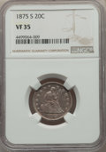 Twenty Cent Pieces: , 1875-S 20C VF35 NGC. NGC Census: (94/2558). PCGS Population:(213/3468). Mintage 1,155,000. ...