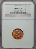 Lincoln Cents: , 1952 1C MS67 Red NGC. NGC Census: (76/0). PCGS Population: (24/0). CDN: $1,400 Whsle. Bid for problem-free NGC/PCGS MS67. M...