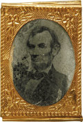 Photography:Tintypes, Abraham Lincoln: A Gem Sized Tintype, Probably from the 1864Campaign. A bearded Lincoln image. Overall rather dark, probabl...