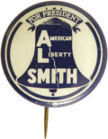 """Political:Pinback Buttons (1896-present), Al Smith: The Rare """"American Liberty Smith"""" in Reversed Colors. This 7/8"""" beauty is as rare and as choice as the preceding e..."""
