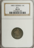 Early Dimes: , 1805 10C 5 Berries AU55 NGC. JR-1, R.3. A scarce variety, the lesscommon of two for this issue. Some central striking weak...