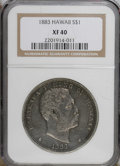 Coins of Hawaii: , 1883 $1 Hawaii Dollar XF40 NGC. NGC Census: (33/182). PCGSPopulation (85/306). Mintage: 500,000. (#10995)...