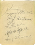 Autographs:Others, 1930's St. Louis Cardinals Signed Sheet with Frisch. Five Mintpencil signatures on an album page (plus two more on the bac...