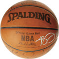 Basketball Collectibles:Balls, NBA All-Stars Multi-Signed Basketball. The official leatherSpalding NBA basketball is one of the Cleveland Cavaliers game-...