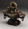 Asian:Chinese, CHINESE CARVED JADE/HARDSTONE TRIPOD KORO. Chinese carvedjade/hardstone tripod koro and cover, with chilong finial above ...