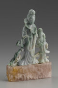 Asian:Chinese, CHINESE CARVED HARDSTONE BEAUTY. Chinese carved hardstone beautyholding a scepter and flanked by an attendant. Of green c...