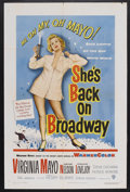 """Movie Posters:Musical, She's Back on Broadway (Warner Brothers, 1953). One Sheet (27"""" X41""""). Musical. Starring Virginia Mayo, Gene Nelson, Frank L..."""