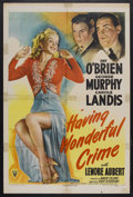 "Movie Posters:Crime, Having Wonderful Crime (RKO, 1944). One Sheet (27"" X 41""). CrimeComedy. Starring Pat O'Brien, George Murphy, Carole Landis,..."