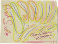 """Movie/TV Memorabilia:Autographs and Signed Items, Charles Manson Signed Color Sketch. Approximately 4.5"""" x 6"""" sketchby Charles Manson, which he has titled (in pink) """"Pink S..."""