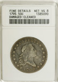 Early Half Dollars: , 1795 50C 2 Leaves--Damaged, Cleaned--ANACS. Fine Details, Net VG8.O-109, R.4. A significantly worn example, partly retoned...