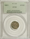 Early Half Dimes: , 1801 H10C VF20 PCGS. V-1 or V-2, LM-2, R.4. A moderately worn butotherwise untroubled example of this very scarce issue. D...