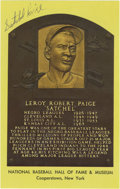 Autographs:Post Cards, Satchel Paige Signed Gold Hall of Fame Plaque. Ageless pitchinglegend Satchel Paige has applied his highly desirable signa...