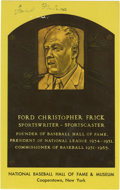 Autographs:Post Cards, Ford Frick Signed Gold Hall of Fame Plaque. Known for his 10Commandments of Umpiring, HOF sportswriter Ford Frick helped s...