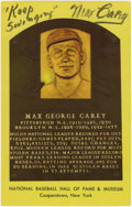 Autographs:Post Cards, Max Carey Signed Gold Hall of Fame Plaque. A powerful outfielder,Max Carey led the league in putouts in 9 of his 17 seaso...