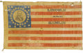 Political:Textile Display (pre-1896), Lincoln & Hamlin: A Highly Important Large Portrait Flag fromthe 1860 Campaign. Campaign flags have long been considered th...