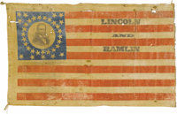 Lincoln & Hamlin: A Highly Important Large Portrait Flag from the 1860 Campaign. Campaign flags have long been consi...