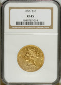 Liberty Eagles: , 1853 $10 XF45 NGC. NGC Census: (62/401). PCGS Population (55/163).Mintage: 201,253. Numismedia Wsl. Price: $379. (#8610)...