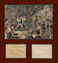 Boxing Collectibles:Autographs, 1888-1915 Jake Kilrain & John L. Sullivan Signed Cut SignaturesDisplay....