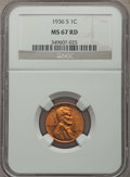 Lincoln Cents: , 1936-S 1C MS67 Red NGC. NGC Census: (129/0). PCGS Population: (71/0). CDN: $550 Whsle. Bid for problem-free NGC/PCGS MS67. ...