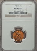 Lincoln Cents: , 1951-S 1C MS67 Red NGC. NGC Census: (228/1). PCGS Population: (131/0). CDN: $250 Whsle. Bid for problem-free NGC/PCGS MS67....