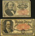 Fractional Currency, Fr. 1308 25¢ Fifth Issue Very Good;. Fr. 1380 50¢ Fifth IssueFine.. ... (Total: 2 notes)