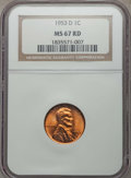 Lincoln Cents, 1953-D 1C MS67 Red NGC. NGC Census: (153/0). PCGS Population: (64/0). CDN: $300 Whsle. Bid for problem-free NGC/PCGS MS67. ...