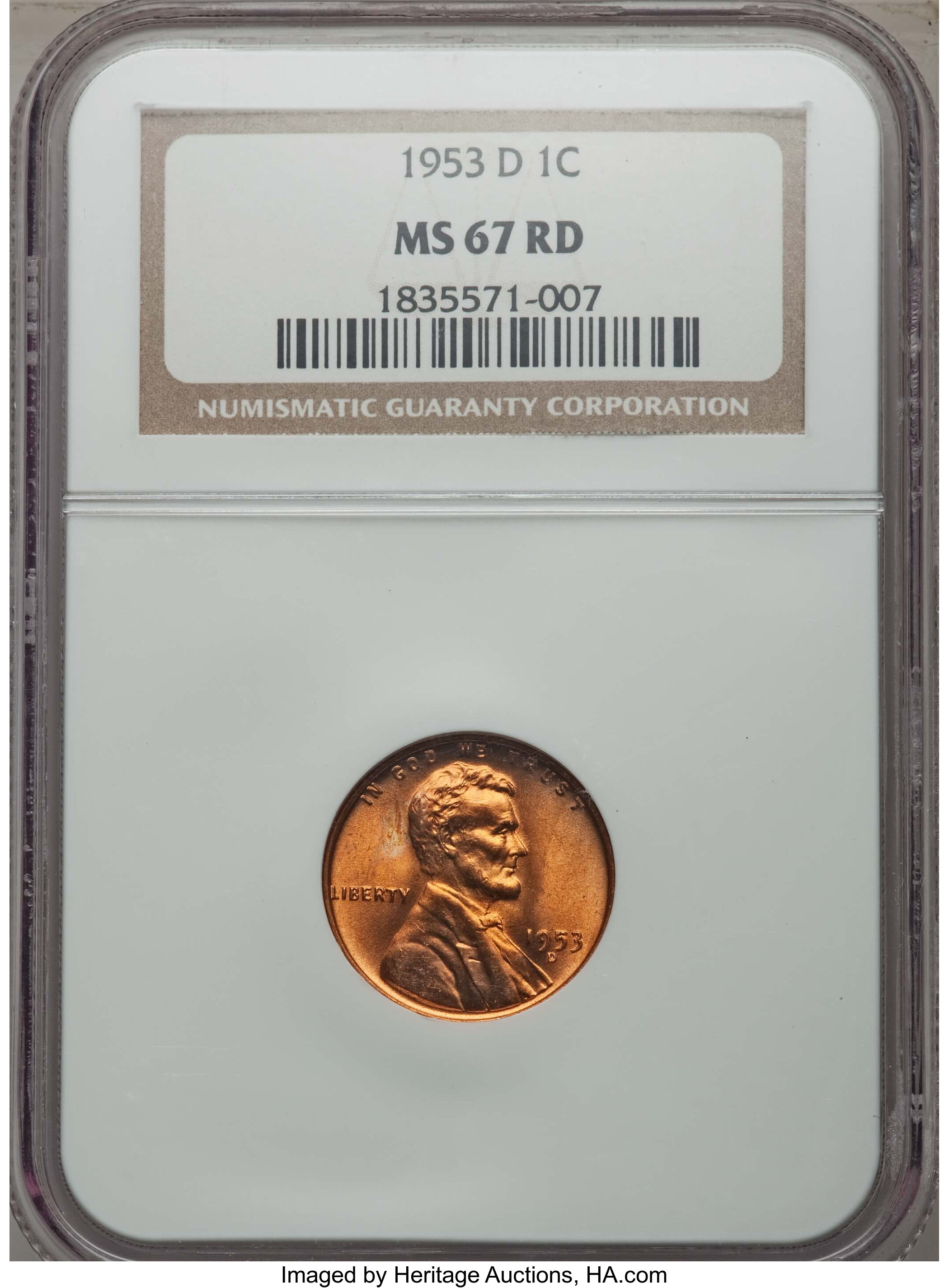 1992 D Lincoln 1c NGC Certified MS 67 RD