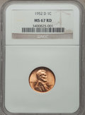 Lincoln Cents: , 1952-D 1C MS67 Red NGC. NGC Census: (209/0). PCGS Population: (86/0). CDN: $300 Whsle. Bid for problem-free NGC/PCGS MS67. ...