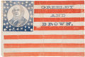 Political:Textile Display (pre-1896), Horace Greeley: Monumentally Important 1872 Portrait FlagBanner....