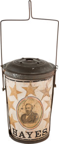 Political:3D & Other Display (pre-1896), Rutherford B. Hayes: Dual-Portrait Tin & Paper Parade Lantern....