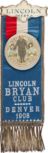Political:Pinback Buttons (1896-present), William Jennings Bryan: Lincoln Delegation Convention Badge. ...