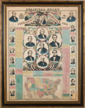 Political:Posters & Broadsides (pre-1896), Abraham Lincoln et al: Colorful Lloyd's Wall Chart with Jugate Portraits of the Four Presidential Tickets Plus Hopeful Sam Hou...