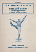 """Football Collectibles:Programs, 1934 NFL Championship """"Sneaker Game"""" Program...."""