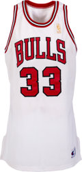 Basketball Collectibles:Uniforms, 1996-97 Scottie Pippen Game Worn & Signed Chicago Bulls Uniform--Photo Matched To Twelve Games & Career High Points Game!...