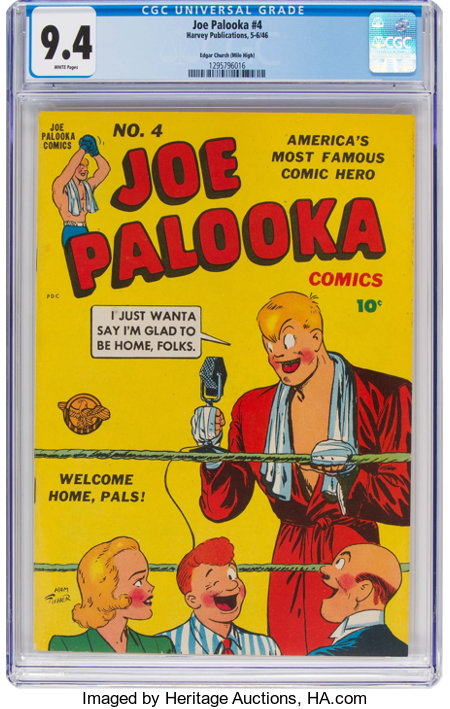 Joe Palooka Comics #4 Mile High Pedigree (Harvey, 1946) CGC NM 9.4 White pages....