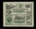 Obsoletes By State:Wisconsin, Milwaukee, WI- Milwaukee County Bank $5-$10 Sept. 1, 1862 G2-G4 Krause X1 A rare and lovely uncut two-subject sheet. This i...
