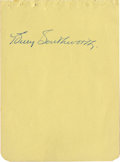 Autographs:Letters, Billy Southworth Cut Signature. Southworth spent four decades inbaseball as a player and manager, but his accomplishments a...