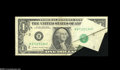 Error Notes:Foldovers, Fr. 1913-B $1 1985 Federal Reserve Note. Very Fine-Extremely Fine.The printing process went terribly awry for this striking...