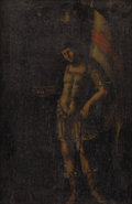 Fine Art - Painting, European:Antique  (Pre 1900), Manner of NICOLO DELL'ABBATE (Italian 1509-1571). St.George. Oil on canvas. framed. ...