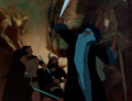 Animation Art:Production Cel, The Lord of the Rings Frodo, Aragorn, Boromir, and GandalfProduction Cel and Key Master Background Setup (Ralph Baksh...