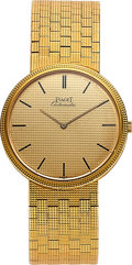 Timepieces:Wristwatch, Piaget, Gold Wristwatch Ref 12601 C4, circa 1985 with Box andPapers.. ...