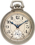 Timepieces:Pocket (post 1900), Waltham Vanguard Wind Indicator With Rare Weems Pat. Pending SubSeconds, circa 1924. ...