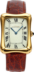 Timepieces:Wristwatch, Cartier, Modèle Coussin Bamboo,Paris, 18K Yellow Gold with'spidered' dial, circa late 1970's.. ...