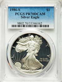 1986-S $1 Silver Eagle PR70 Deep Cameo PCGS. PCGS Population: (4438). NGC Census: (5352). CDN: $275 Whsle. Bid for NGC/P...