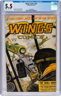 Golden Age (1938-1955):War, Wings Comics #36 (Fiction House, 1943) CGC FN- 5.5 Cream tooff-white pages....
