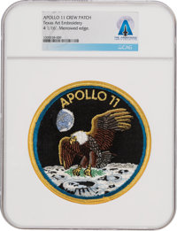 Apollo 11: Neil Armstrong's Personally-Owned Texas Art Embroidery Crew Patch as Worn on Bio-Garments in Quarantine