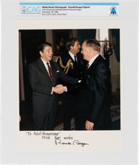 President Ronald Reagan: Official 1988 White House Color Photo Signed (Autopen) to Neil Armstrong Directly From Th